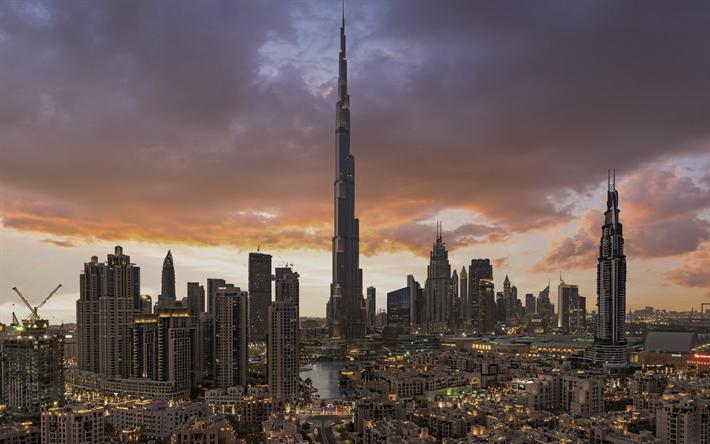 Burj Khalifa, Downtown Dubai, modern architecture, skyscrapers, modern buildings, evening, mixed-use complex, Dubai, United Arab Emirates