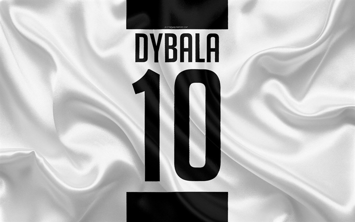Download Wallpapers Paulo Dybala Juventus Fc T Shirt 10th Number Serie A White Black Silk Texture Juve Turin Italy Football Dybala For Desktop Free Pictures For Desktop Free