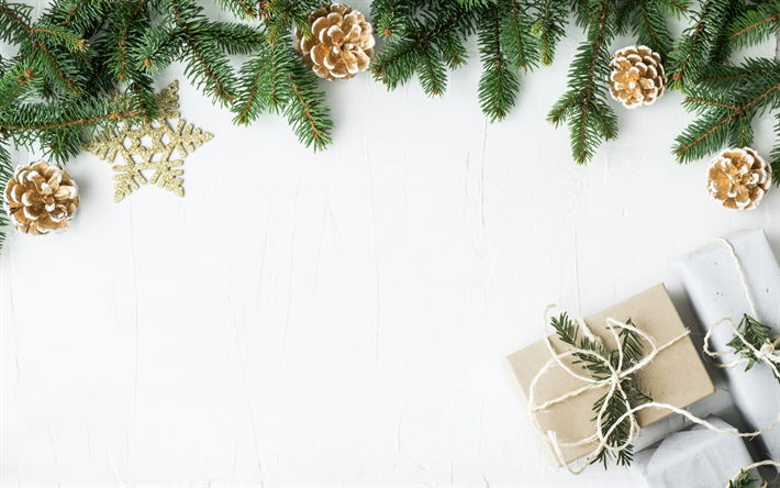 Download Wallpapers Christmas White Wooden Background