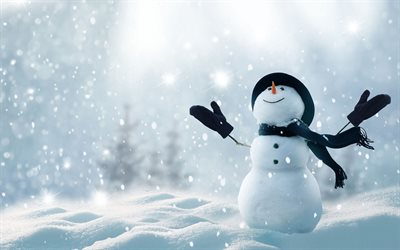 snowman, winter, snowfall, snowdrifts, 3D art, snowflakes