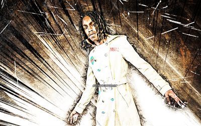 4k, YNW Melly, grunge art, american rapper, music stars, Jamell Maurice Demons, brown abstract rays, american celebrity, YNW Melly 4K