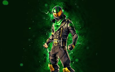 Lucky Rider, 4k, green neon lights, 2020 games, Fortnite Battle Royale, Fortnite characters, Lucky Rider Skin, Fortnite, Lucky Rider Fortnite