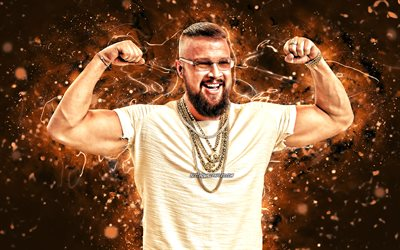 Kollegah, 4k, blue neon lights, german rapper, music stars, Felix Blume, german celebrity, Kollegah 4K