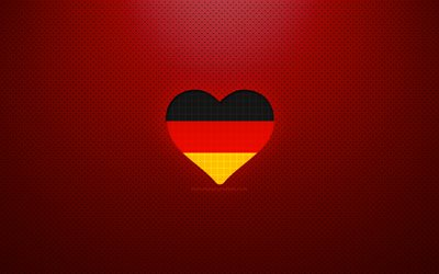 I Love Germany, 4k, Europe, red dotted background, German flag heart, Germany, favorite countries, Love Germany, German flag
