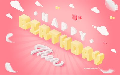 Happy Birthday Thea, 3d Art, Birthday 3d Background, Thea, Pink Background, Happy Thea birthday, 3d Letters, Thea Birthday, Creative Birthday Background