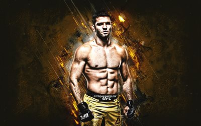 Thiago Moises, MMA, UFC, brazilian fighter, portrait, yellow stone background, Ultimate Fighting Championship