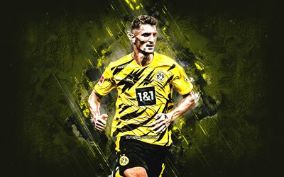 Thomas Meunier, Borussia Dortmund, BVB, belgian soccer player, portrait, yellow stone background, football, Dortmund