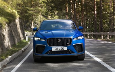 Jaguar F-Pace SVR, 2021, front view, F-Pace special version, new blue F-Pace, British cars, Jaguar