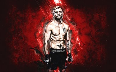 Tim Elliott, UFC, MMA, american fighter, portrait, red stone background