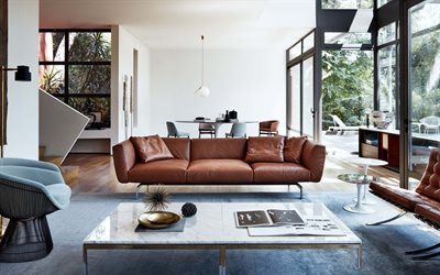 living room, modern interior design, brown leather sofa, stylish interior design, white walls in the living room