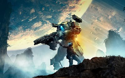Titanfall 2, poster, promo materials, Titanfall characters, popular games