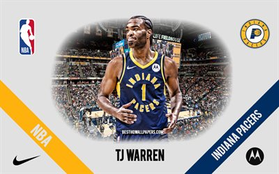 TJ Warren, Indiana Pacers, American Basketball Player, NBA, portrait, USA, basketball, Bankers Life Fieldhouse, Indiana Pacers logo