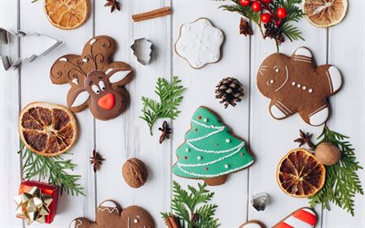Christmas cookies, white wooden background, Happy New Year, Merry Christmas, background with Christmas cookies