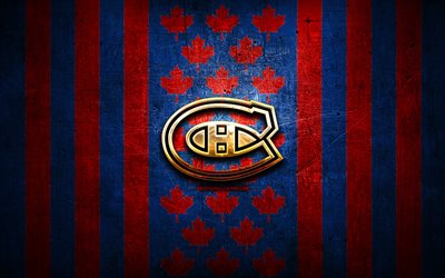 Montreal Canadiens flag, NHL, red blue metal background, canadian hockey team, Montreal Canadiens logo, Canada, hockey, golden logo, Montreal Canadiens