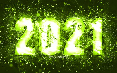 4k, Happy New Year 2021, olive neon lights, 2021 olive digits, 2021 concepts, 2021 on olive background, 2021 year digits, creative, 2021 golden digits, 2021 New Year