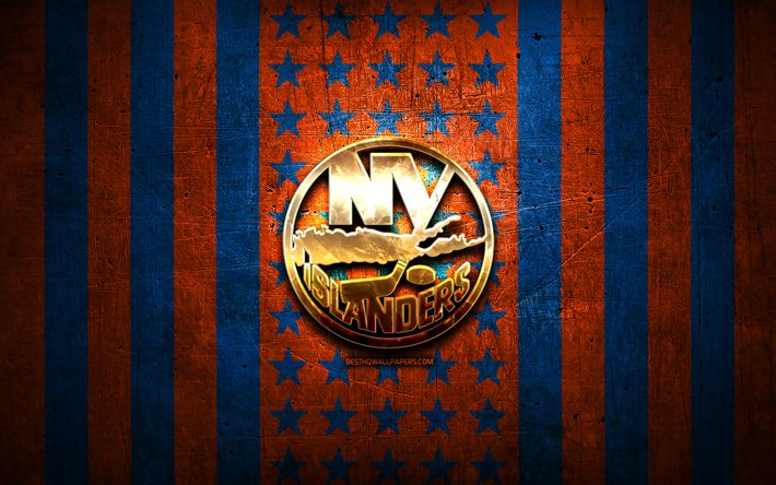 New York Islanders flag, NHL, orange blue metal background, american hockey team, New York Islanders logo, USA, hockey, golden logo, New York Islanders