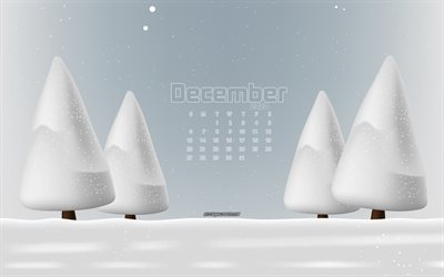 2020 December calendar, 4k, winter landscape, winter, snow, 2020 calendars, December, December 2020 Calendar