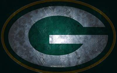 Green Bay Packers, American football team, green stone background, Green Bay Packers logo, grunge art, NFL, American football, USA, Green Bay Packers emblem