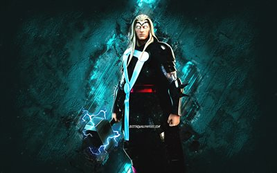 Fortnite Thor Skin, Fortnite, main characters, blue stone background, Thor, Fortnite skins, Thor Skin, Thor Fortnite, Fortnite characters