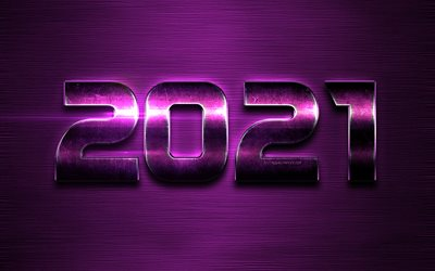 2021 New Year, purple metal letters, 2021 concepts, Happy New Year 2021, 2021 purple background, 2021 metal background