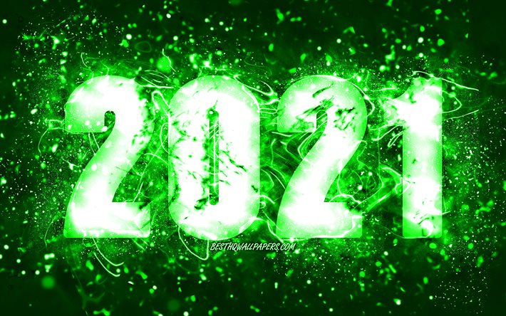 Happy New Year 2021, 4k, green neon lights, 2021 green digits, 2021 concepts, 2021 on green background, 2021 year digits, creative, 2021 New Year