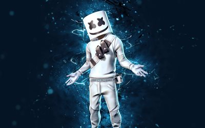 DJ Marshmello, blue neon lights, 4k, 2020 games, Fortnite Battle Royale, Fortnite characters, Marshmello Skin, Marshmello, Fortnite, Marshmello Fortnite