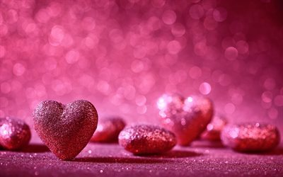 pink hearts, Valentines Day, romance, heart