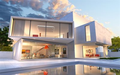 modern home design, exterior, stained glass, square shapes, cubes, pool, modern house