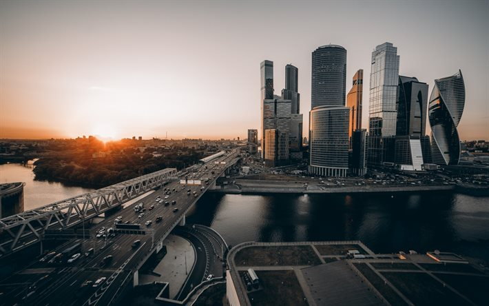 Sunrise Moscow Russia Skyscrapers City