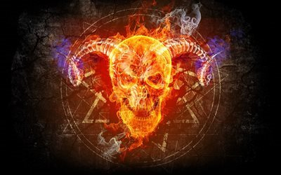 skull, fire, taro, flame, art