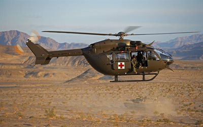 Eurocopter UH-72 Lakota, 4k, medical helicopter, military helicopters, UH-72 Lakota, Eurocopter, NATO