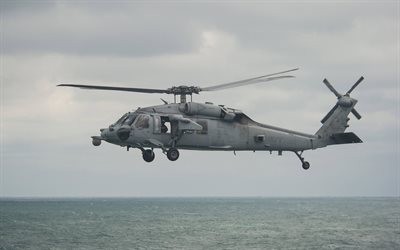 Sikorsky SH-60 Seahawk, US Navy, 4K, US military helicopter, USA, sea