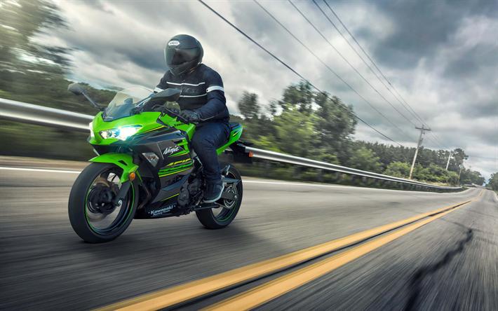 Download Wallpapers Kawasaki Ninja 400, 2018, 4k, Green