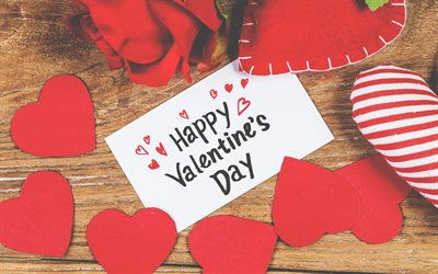With Valentines Day, red paper hearts, decoration, romance, congratulations