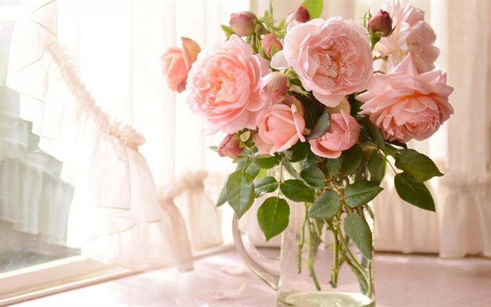 herunterladen hintergrundbild rosa rosen blumenstrau blumen auf dem tisch vase mit blumen. Black Bedroom Furniture Sets. Home Design Ideas