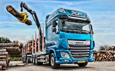 DAF XF 530, HDR, LKW, 2019 trucks, timber carrier, 2019 DAF XF, new XF, trucks, DAF