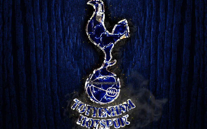 Download Wallpapers Tottenham Hotspur Fc Scorched Logo Premier League Blue Wooden Background English Football Club Grunge Tottenham Football Soccer Tottenham Hotspur Logo Fire Texture England For Desktop Free Pictures For Desktop Free