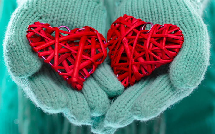 red heart in hands, valentines day, february 14, love concepts, winter, turquoise mittens, hands