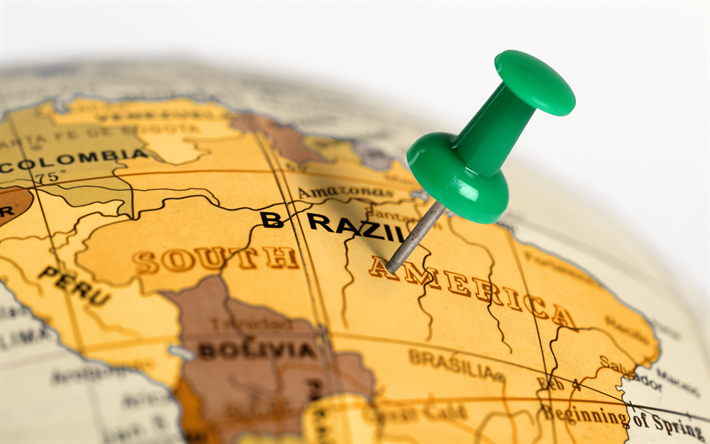 Travel to Brazil, South America, tourism, travel concepts, Brazil map, globe