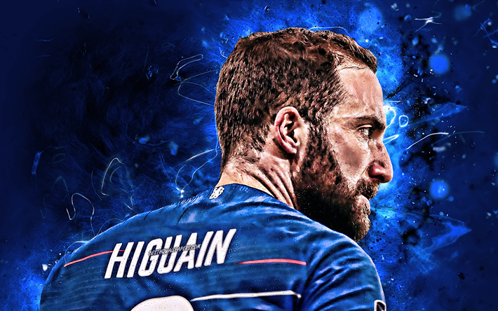 Download wallpapers Gonzalo Higuain, back view, Chelsea FC