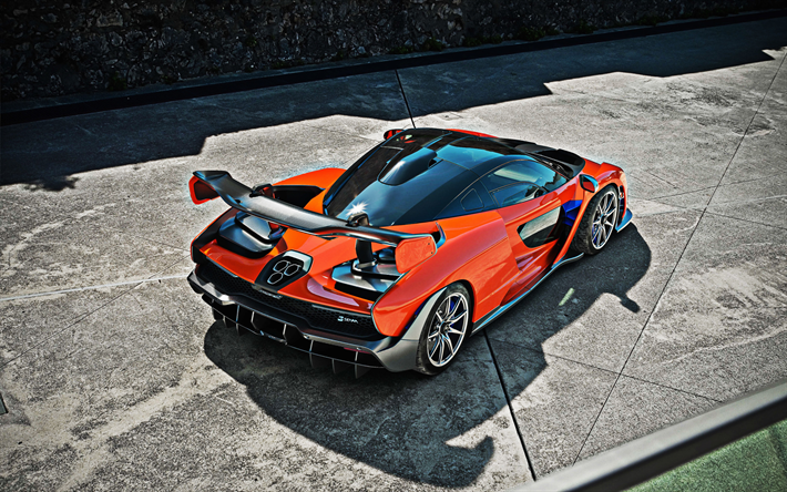 thumb2 mclaren senna 2018 orange supercar top view rear spoiler