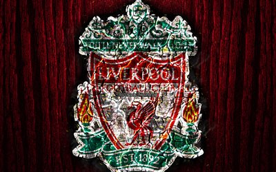 Liverpool FC, scorched logo, Premier League, red wooden background, english football club, grunge, The Reds, football, soccer, Liverpool logo, fire texture, England