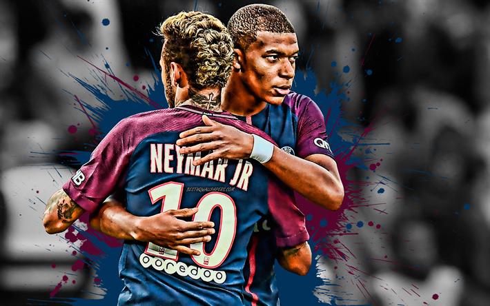 Download Wallpapers Neymar Kylian Mbappe Psg Famous Football Players Paris Saint Germain Ligue 1 France Football Creative Art For Desktop Free Pictures For Desktop Free