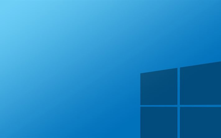 Windows 10, blue background, flat, Windows