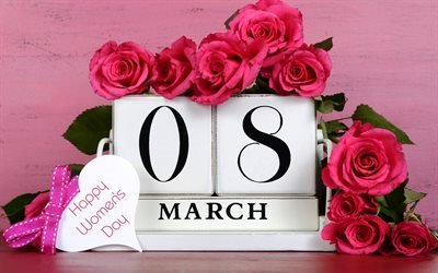 Happy Womens Day, 8 march, roses, spring, International Womens Day