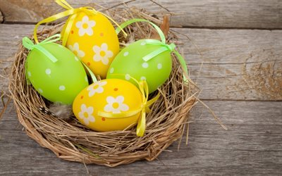 easter eggs, easter, colored eggs, basket
