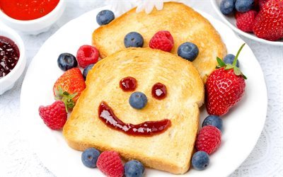 breakfast, toast, breads, fruit, strawberries, breakfast for children, blueberries