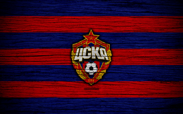Download Wallpapers FC CSKA Moscow, 4k, Wooden Texture