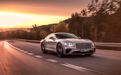 Bentley Continental GT, road, 4k, 2018 cars, motion blur, new Continental GT, Bentley