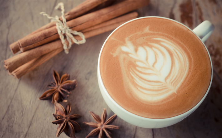 Cappuccino, coffee concepts, latte art, cinnamon, drawings for coffee